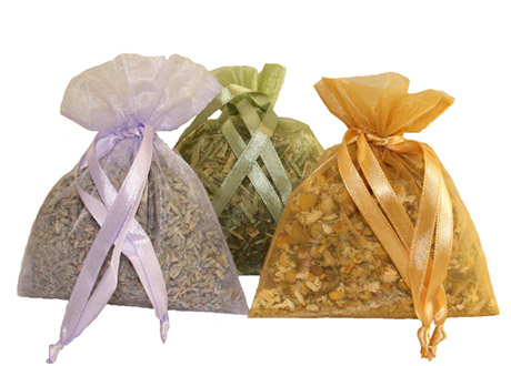 Aromatherapy sachets are filled with different herbal mixes